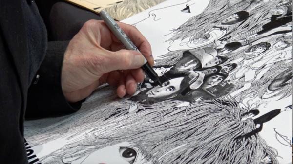 KLaus Voormann zeichnet © C.Voormann